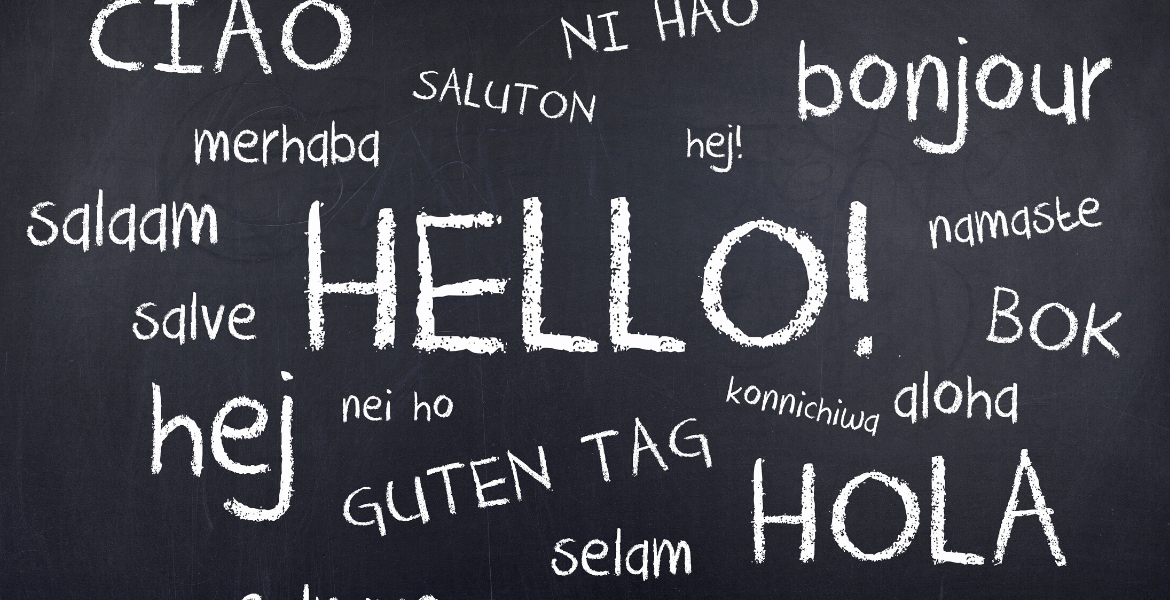 """Chalkboard with """"hello"""" written in various languages"""