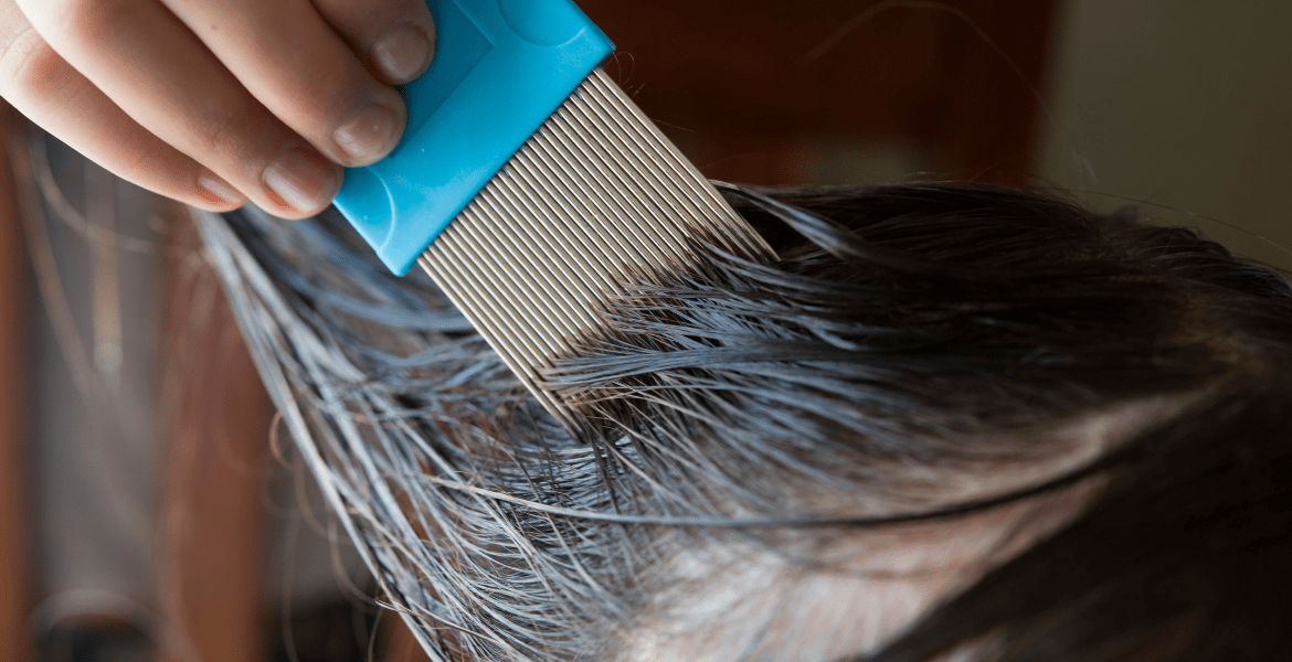 Comb being brushed through hair