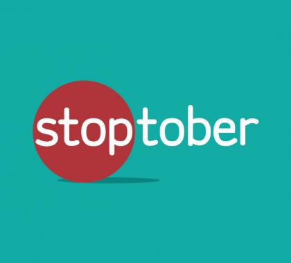 Stoptober logo against teal background