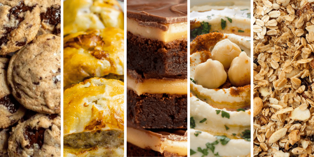 Five columns of different foods - cookies, pastries, brownies, hummus and chick peas, oats