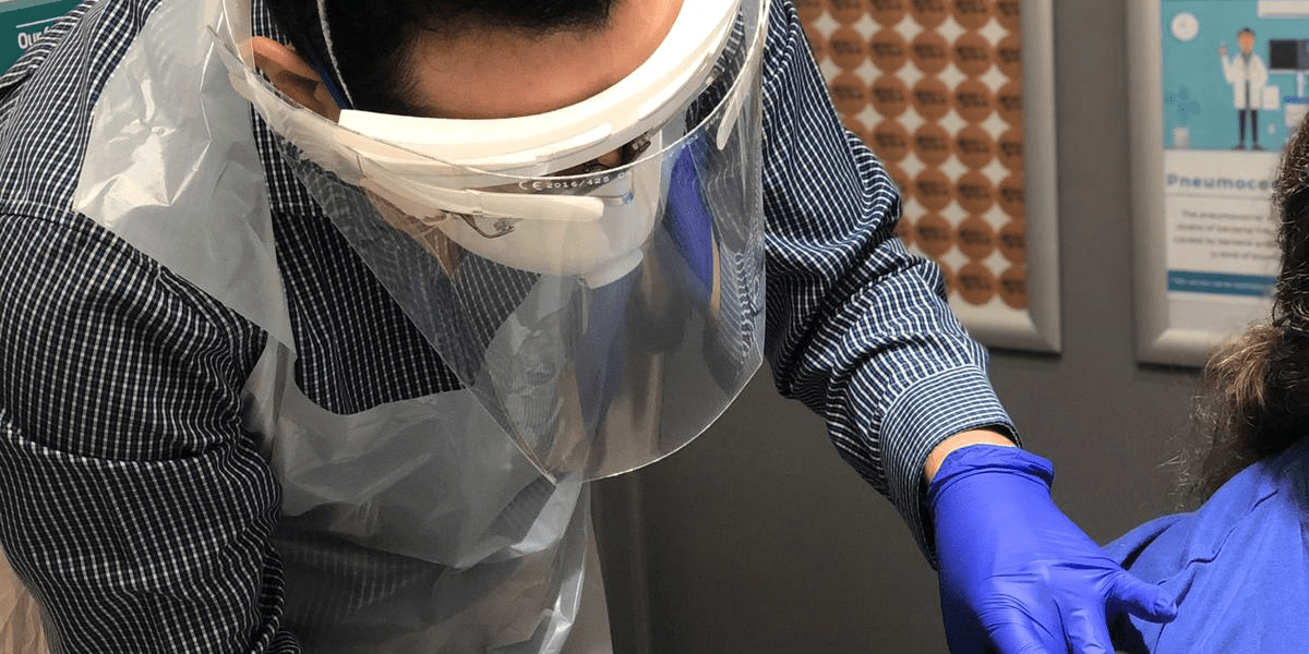 Close of up of doctor wearing PPE