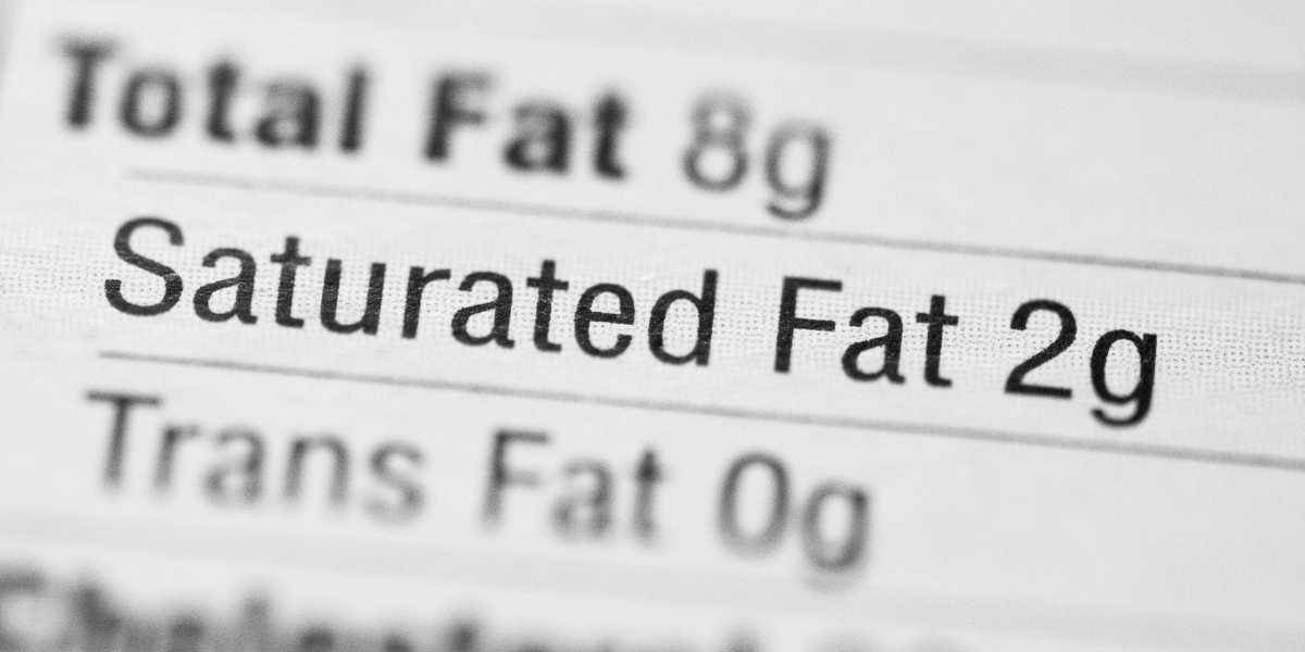 """Close-up text saying """"Saturated Fat 2g"""""""